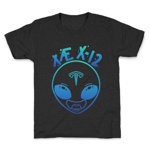X AE X-12 Elon Musk Alien Baby Blue Gradient Kids T-Shirt
