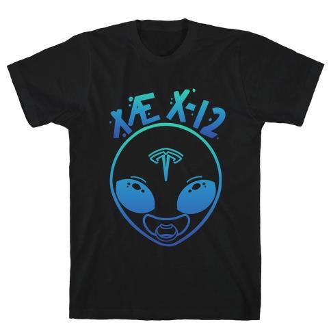 X AE X-12 Elon Musk Alien Baby Blue Gradient T-Shirt