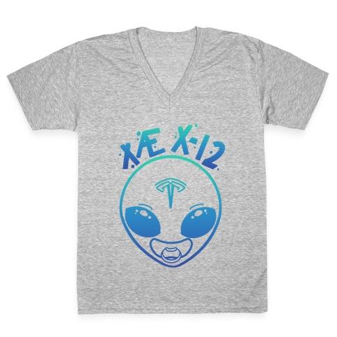 X AE X-12 Elon Musk Alien Baby Blue Gradient V-Neck Tee Shirt