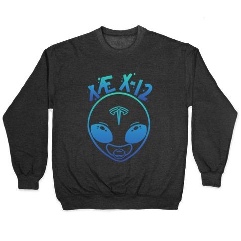 X AE X-12 Elon Musk Alien Baby Blue Gradient Pullover