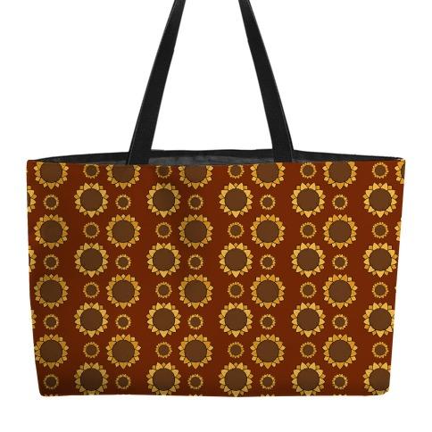 Sunflower Pattern Brown Weekender Tote