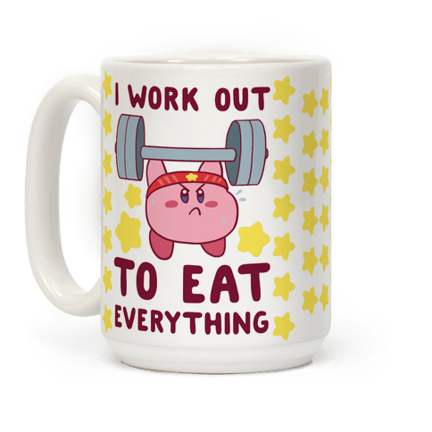 I Work Out to Eat Everything (Kirby) Coffee Mug
