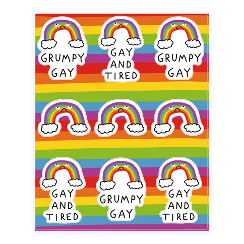 Grumpy Gay Rainbow Sticker and Decal Sheet