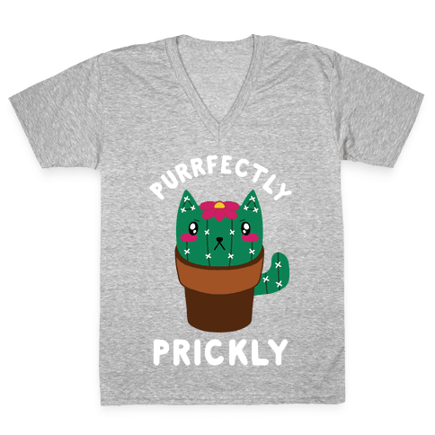 Purrfectly Prickly V-Neck Tee Shirt