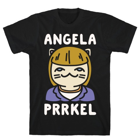 Angela Prrkel Parody White Print T-Shirt