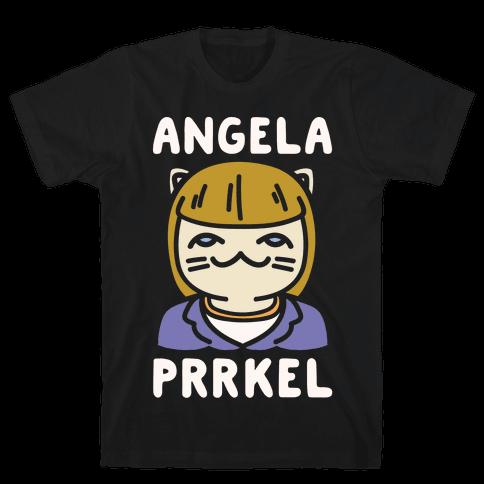 Angela Prrkel Parody White Print Mens T-Shirt