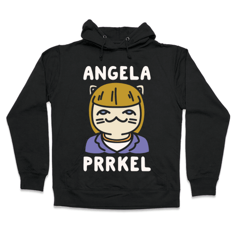 Angela Prrkel Parody White Print Hooded Sweatshirt
