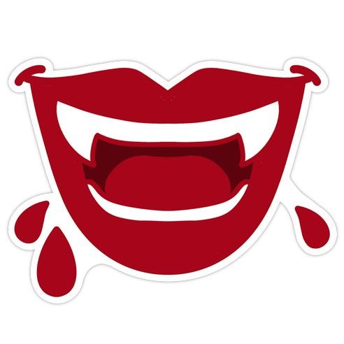 Red Vampire Lips Die Cut Sticker
