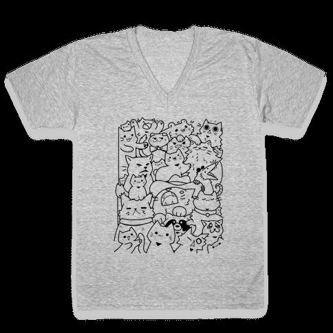 CATS CATS CATS! V-Neck Tee Shirt