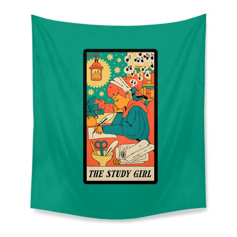 The Study Girl Tarot Card Tapestry