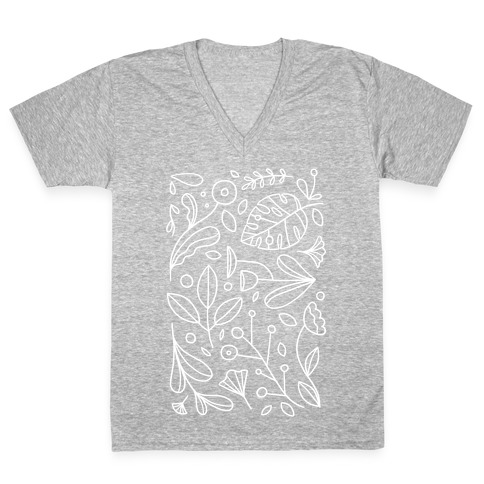Black and White Plant Pattern V-Neck Tee Shirt