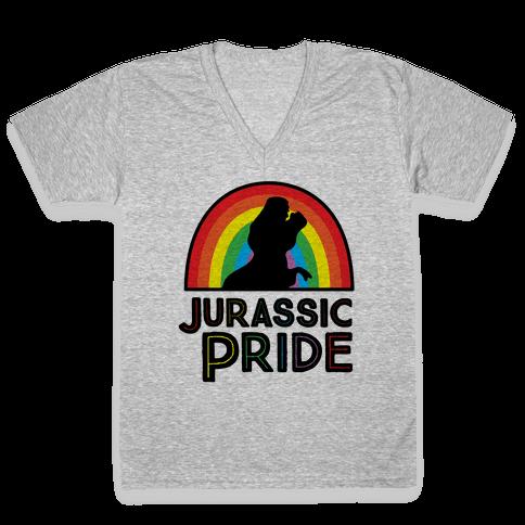 Jurassic Pride Parody V-Neck Tee Shirt