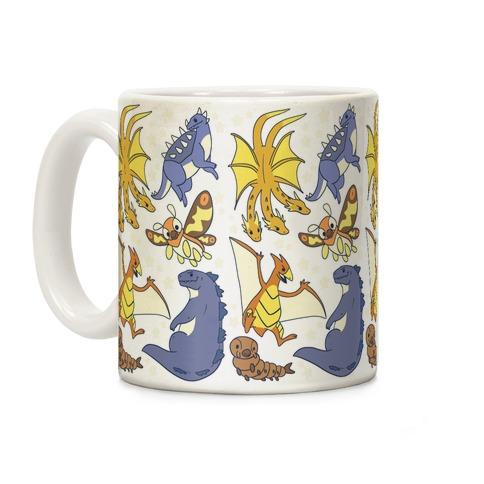 Godzilla and Friends Pattern Coffee Mug