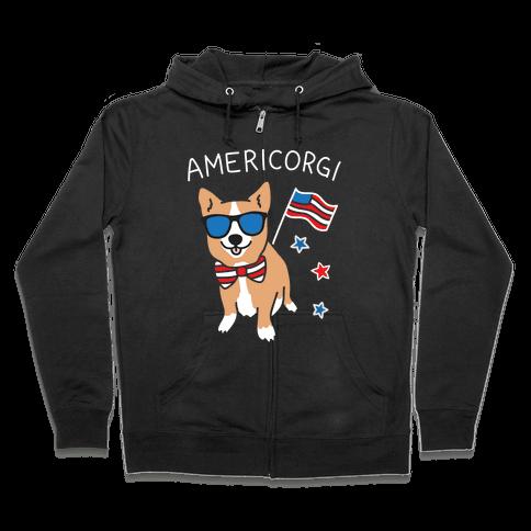 AmeriCorgi Patriotic Corgi Zip Hoodie