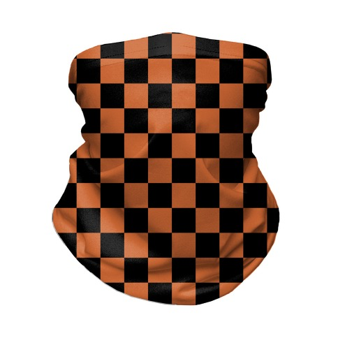 Checkered Black and Rust Orange Neck Gaiter