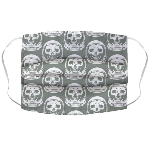Skulls in Astronaut Pattern Grey Accordion Face Mask