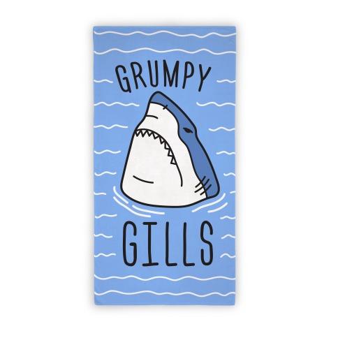 Grumpy Gills Shark Beach Towel