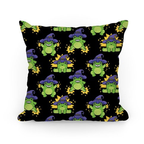 Magical Frog Witch Pattern Pillow
