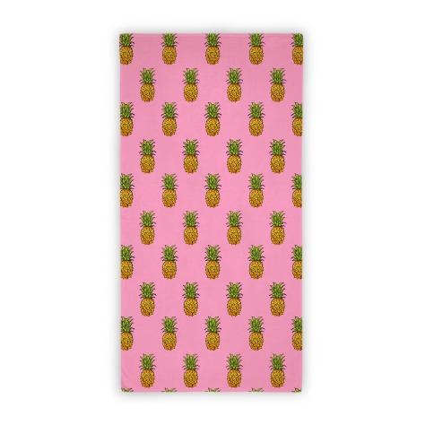 Pink Pineapple Pattern Beach Towel