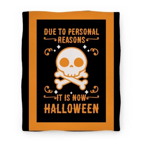 Due To Personal Reasons It Is Now Halloween Skull (Orange) Blanket