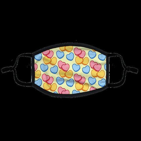 Candy Hearts Mask Flat Face Mask