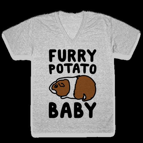 Furry Potato Baby Guinea Pig Parody V-Neck Tee Shirt
