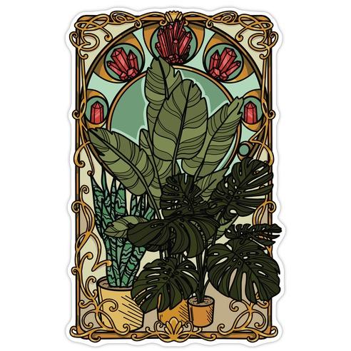 Art Nouveau House Plants Die Cut Sticker
