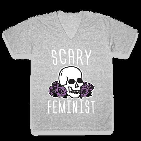 Scary Feminist V-Neck Tee Shirt