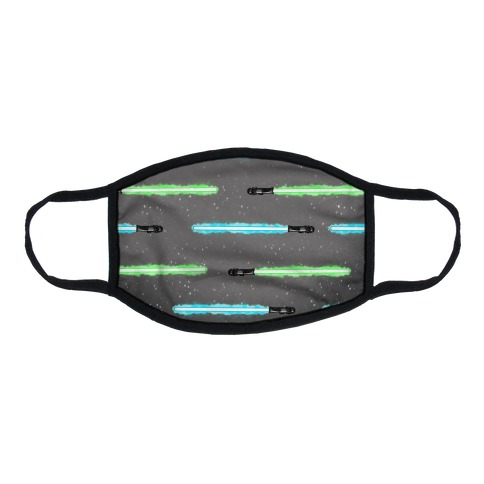 Blue and Green Lightsaber Pattern Flat Face Mask