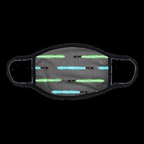 Blue and Green Lightsaber Pattern Flat Face Mask