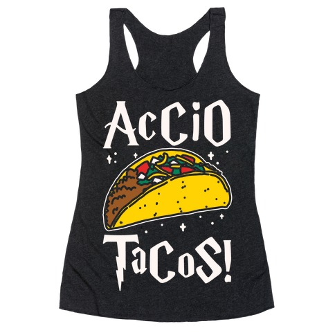 Accio Tacos Parody White Print Racerback Tank Top