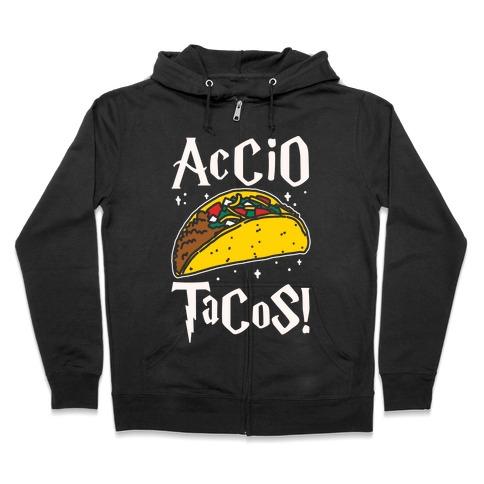 Accio Tacos Parody White Print Zip Hoodie