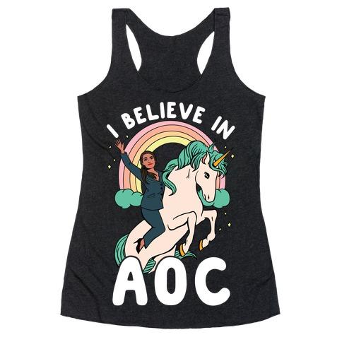 I Believe in AOC (Alexandria Ocasio-Cortez) Racerback Tank Top