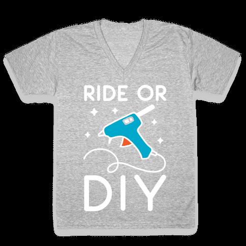 Ride Or DIY Pair 2/2 V-Neck Tee Shirt