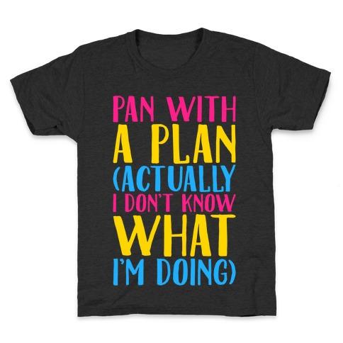 Pan With A Plan White Print Kids T-Shirt