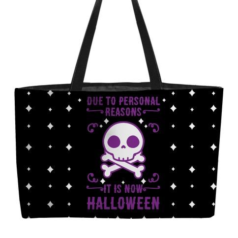 Due To Personal Reasons It Is Now Halloween Skull (Purple) Weekender Tote