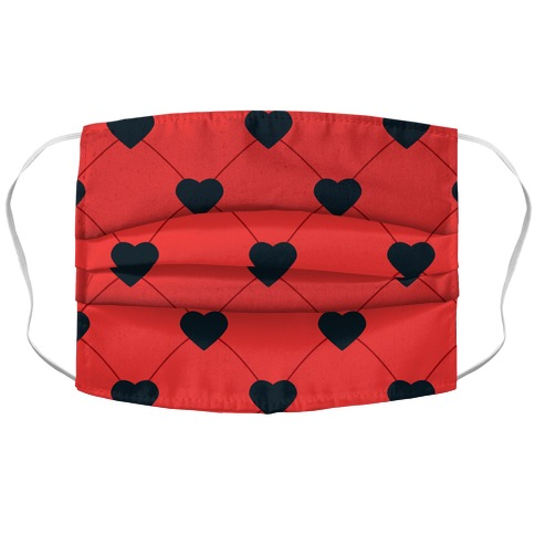 Simple Heart Pattern Red Accordion Face Mask