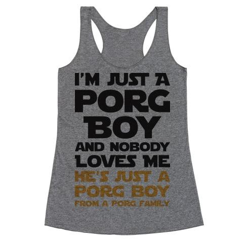 I'm Just A Porg Boy Racerback Tank Top