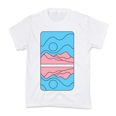 Groovy Pride Flag Landscapes: Trans Flag Kids T-Shirt