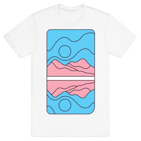 Groovy Pride Flag Landscapes: Trans Flag T-Shirt