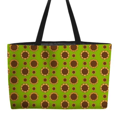 Sunflower Pattern Green Weekender Tote