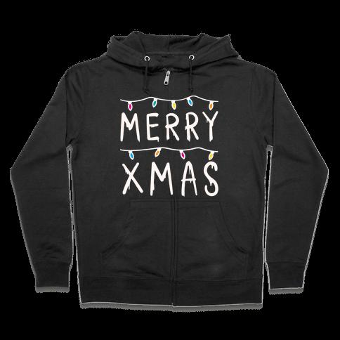 Merry Xmas Things (White) Zip Hoodie