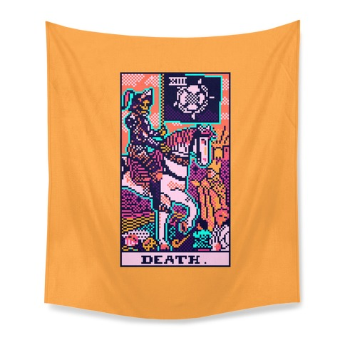 Pixelated Death Tarot Card Tapestry