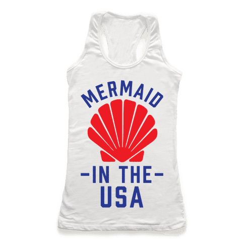 Mermaid In The USA Racerback Tank Top