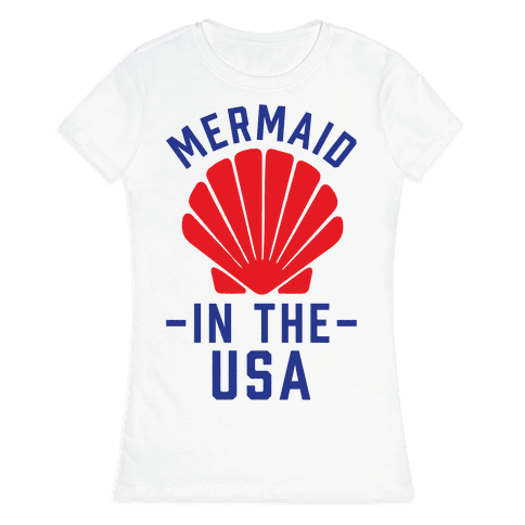 Mermaid In The USA Womens T-Shirt