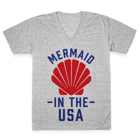 Mermaid In The USA V-Neck Tee Shirt