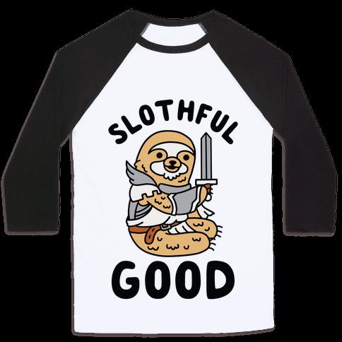 Slothful Good Sloth Paladin Baseball Tee