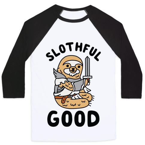 Slothful Good Sloth Paladin Baseball Tee