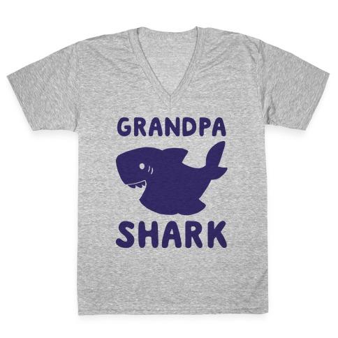 Grandpa Shark (1 of 5 set) V-Neck Tee Shirt