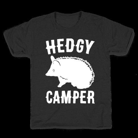 Hedgy Camper White Print Kids T-Shirt